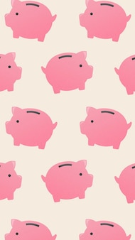 Papel de parede para celular de cofrinho, ilustração vetorial de financiamento de dinheiro fofo
