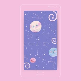 Papel de parede para celular de constelações em pastel fofo