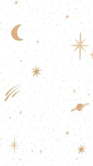 Papel de parede para celular do doodle galáctico da lua e das estrelas do vetor dourado