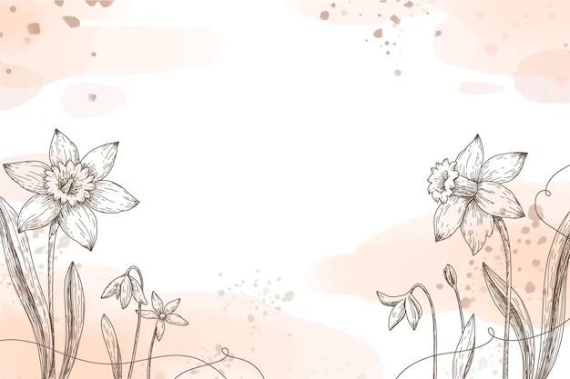 Papel de parede pintado à mão com elementos florais desenhados à mão