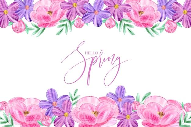Papel de parede primavera aquarela com tema floral