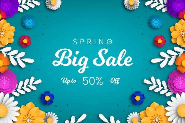 Papel de parede realista de venda de primavera em estilo papel