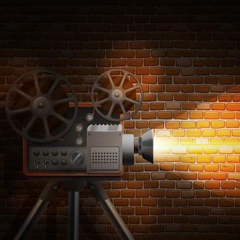 Papel de parede retrô filme com projetor realista