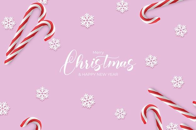 Papel de parede rosa de natal com elementos realistas de natal