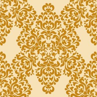 Papel de parede sem costura damasco padrão rico clássico bege dourado textura decorativa gráficos digitais
