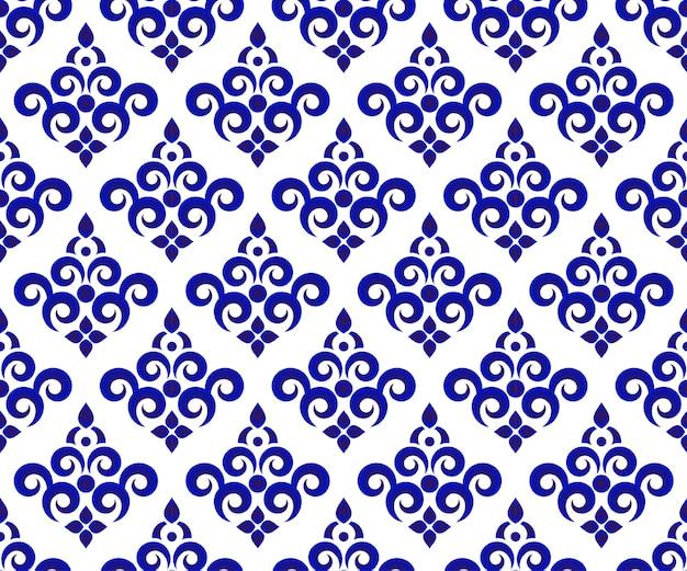 Papel de parede sem costura floral azul e branco e padrão de cerâmica, design de fundo de porcelana