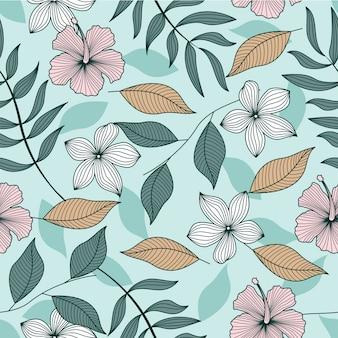 Papel de parede sem costura padrão de folhas tropicais