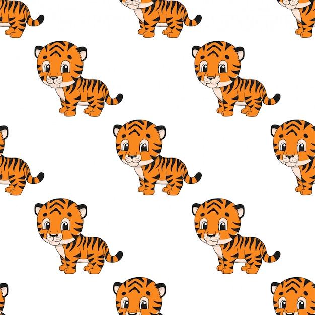 Papel de parede sem costura padrão feliz bebê tigre