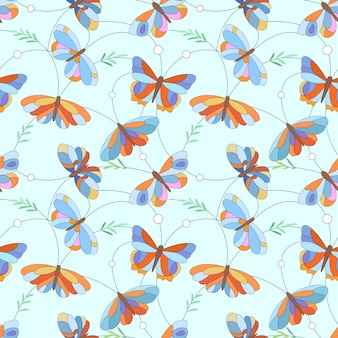 Papel de parede sem emenda de matéria têxtil da tela do teste padrão da borboleta colorida.