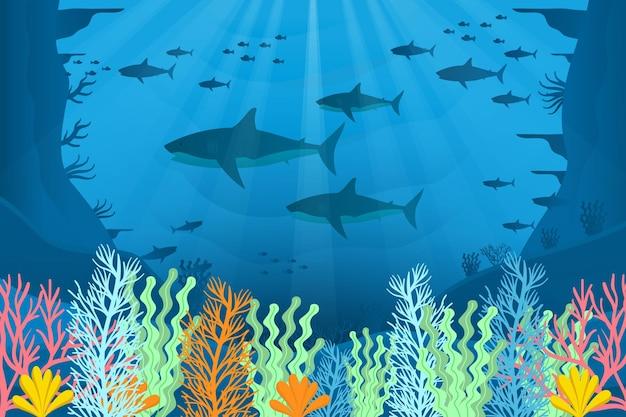 Papel de parede sob o mar para videoconferência
