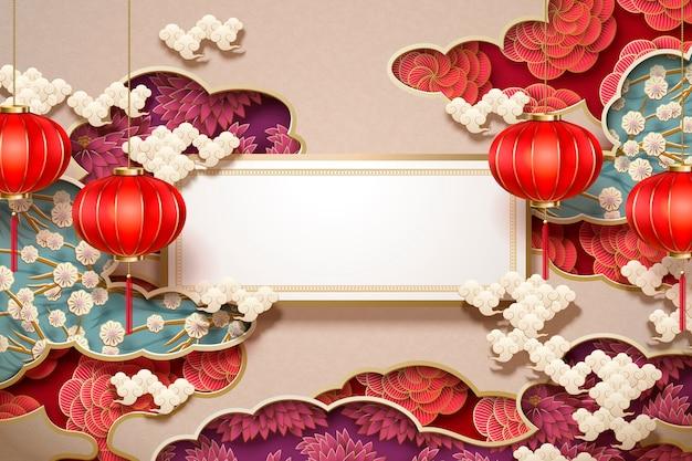 Papel de parede tradicional chinês com rolo em branco e lanternas penduradas em decorações florais