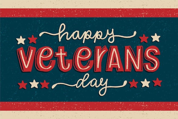Papel de parede vintage dia dos veteranos de rotulação
