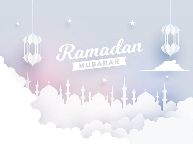 Papel de ramadan mubarak cortar o estilo de vista frontal de nuvens com ilustração do templo de mesquita