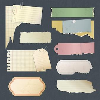 Papel de rascunho. velhos adesivos em branco antigos riscados ou cartão para coleção de papéis de memorandos do diário. ilustração da nota da página retro, papel para cartas do grunge