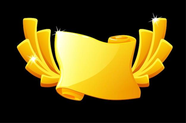 Papel de recompensa em rolo de ouro, modelo em branco para a interface do usuário do jogo