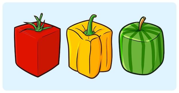 Papel de sino de tomate com formato de cubo engraçado e melancia em estilo simples de doodle