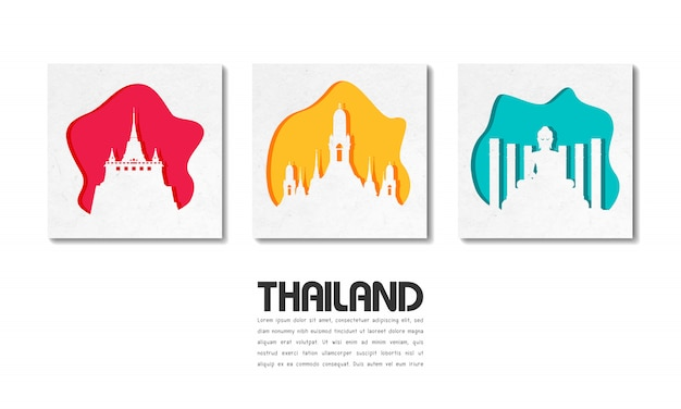 Papel de viagem e viagem global de marco de tailândia com modelo de texto