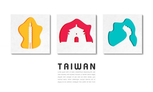 Papel de viagens e viagem global landmark de taiwan com modelo de texto