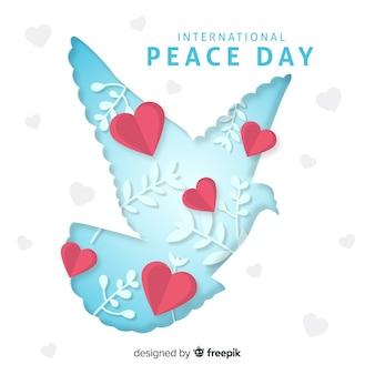 Papel, dia paz, fundo, com, pomba