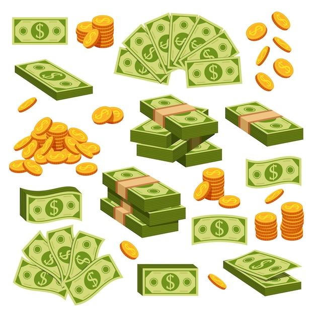 Papel dinheiro e moedas de ouro isoladas de elemento de design isolado coleção de conjunto