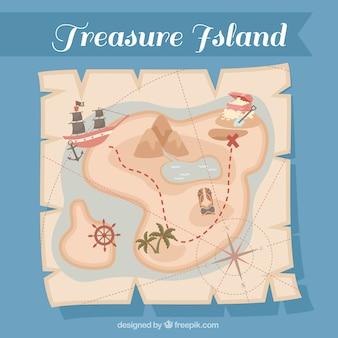 Papel do vintage com mapa do tesouro do pirata