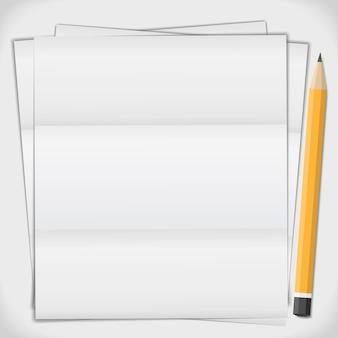Papel dobrado com lápis, ilustração