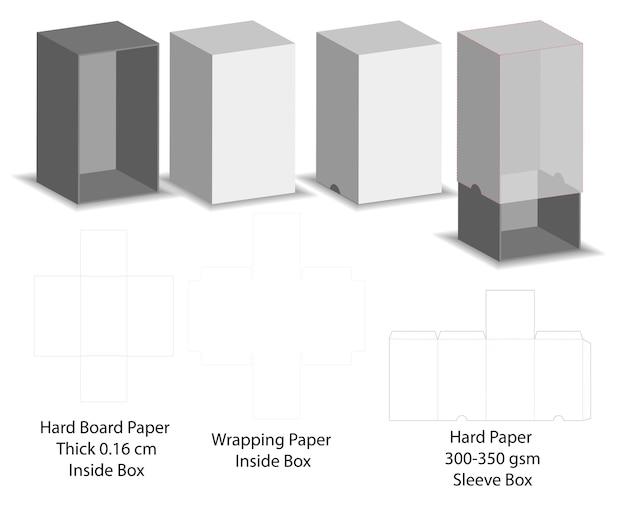 Papel duro slide manga caixa maquete dieline