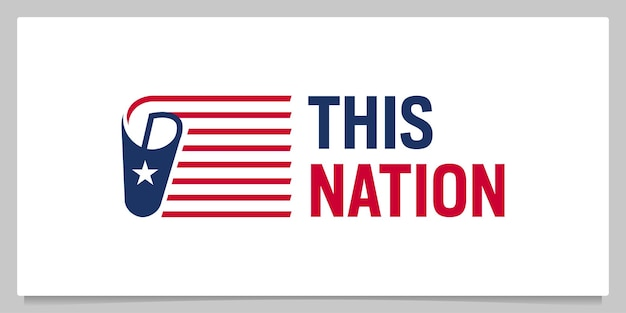 Papel e bandeira americana nacionalmente design de logotipo