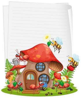 Papel em branco com casa de cogumelos e jardim animal conjunto isolado