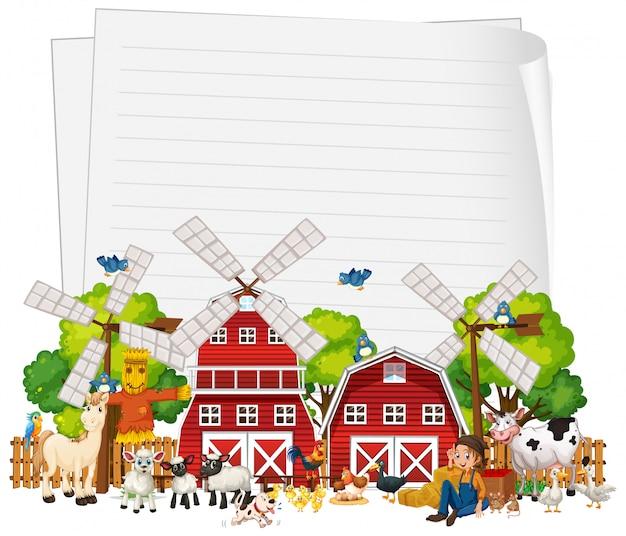 Papel em branco com conjunto de fazenda de animais isolado