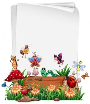 Papel em branco com conjunto de jardim animal isolado