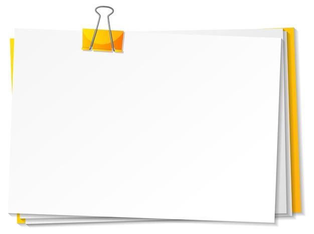 Papel em branco e modelo de clipe de pasta