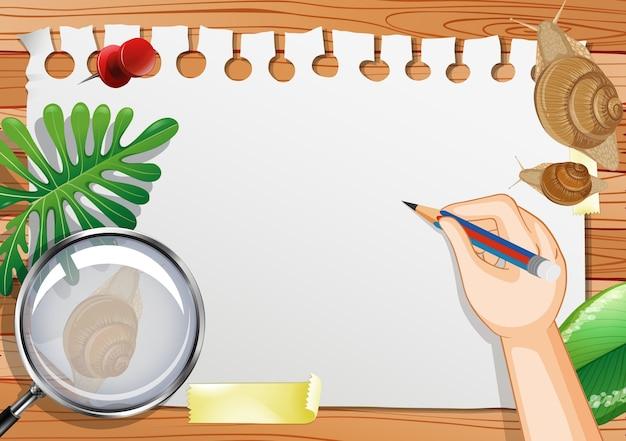 Papel em branco na vista de cima da mesa com folhas e elementos de caracol