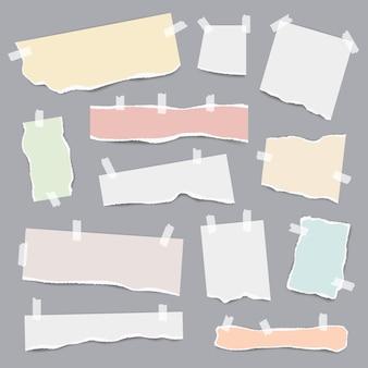 Papel gravado. rasgou pedaços de páginas de nota branca e colorida de vetor modelo realista