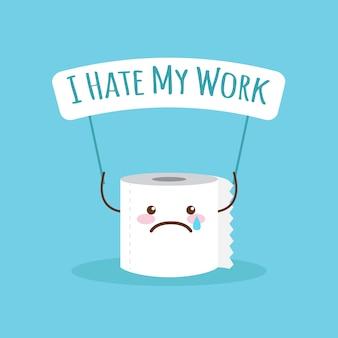Papel higiênico de desenhos animados com citação sobre o trabalho