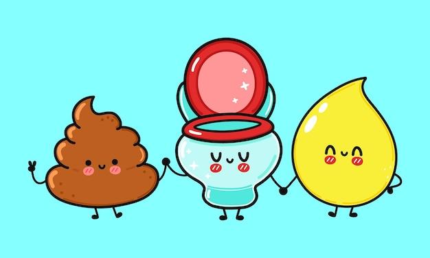 Papel higiênico feliz engraçado fofo e personagem de bosta