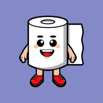 Papel higiênico fofo e feliz isolado em roxo