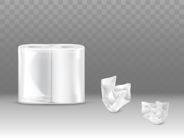 Papel higiênico, toalhas de papel de cozinha embalar 3d realista