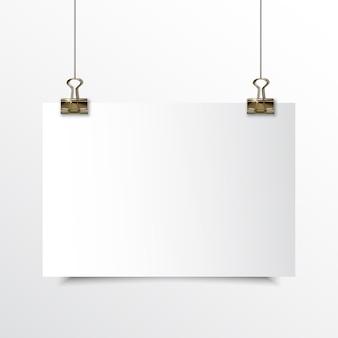 Papel horizontal em branco realístico mock up