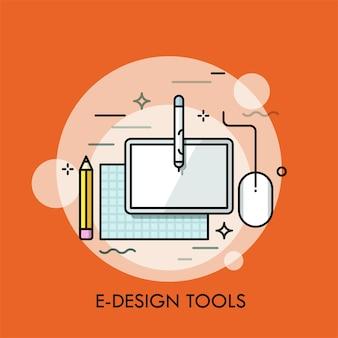 Papel, lápis e tablet gráfico e mouse pad.