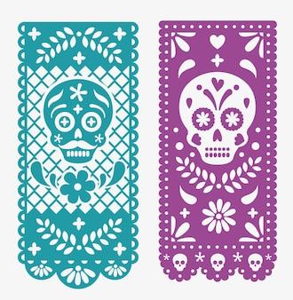 Papel mexicano decorativo com caveiras e flores