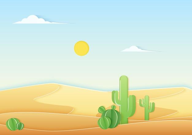 Papel na moda cortado estilo paisagem desértica com cacto fofo no deserto.