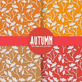 Papel na moda cortar cogumelo selvagem outono estilo no padrão de fundo colorido