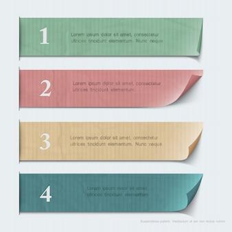 Papel numerado banners para infográfico