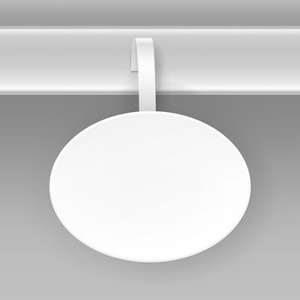 Papel oval redondo branco em branco wobbler de preço de publicidade de plástico isolado no fundo