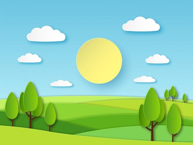 Papel paisagem de verão. campo verde panorâmico com árvores e céu azul com nuvens brancas. conceito 3d de vetor de ecologia papercut em camadas