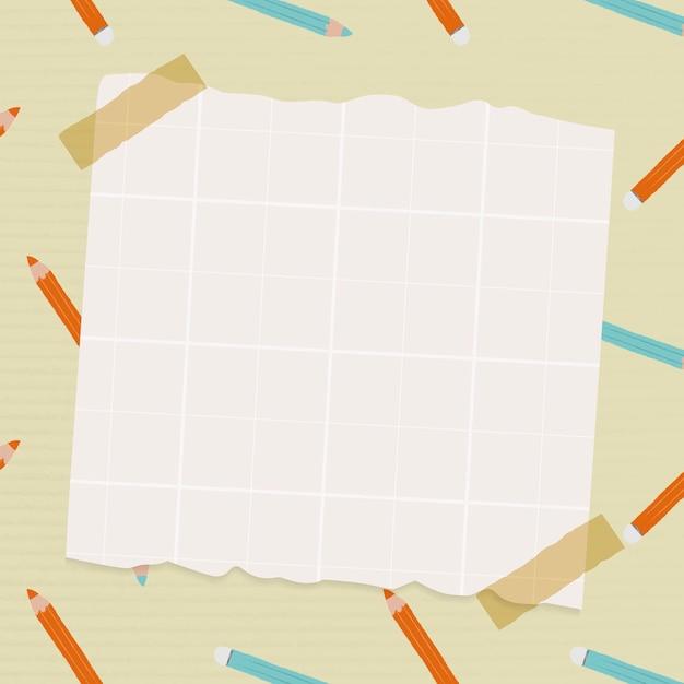 Papel para anotações em fundo de padrão de lápis