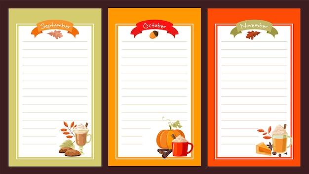 Papel para anotações. três meses de outono com abóbora e café com leite.