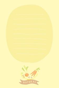 Papel para cartas de legumes desenhados à mão