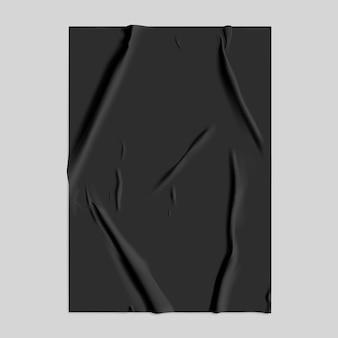 Papel preto colado com efeito amassado úmido